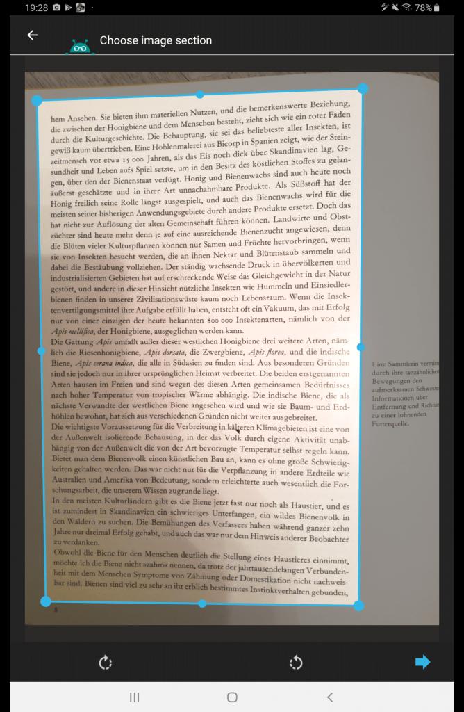 Textfee: Fotografieren eines Textes