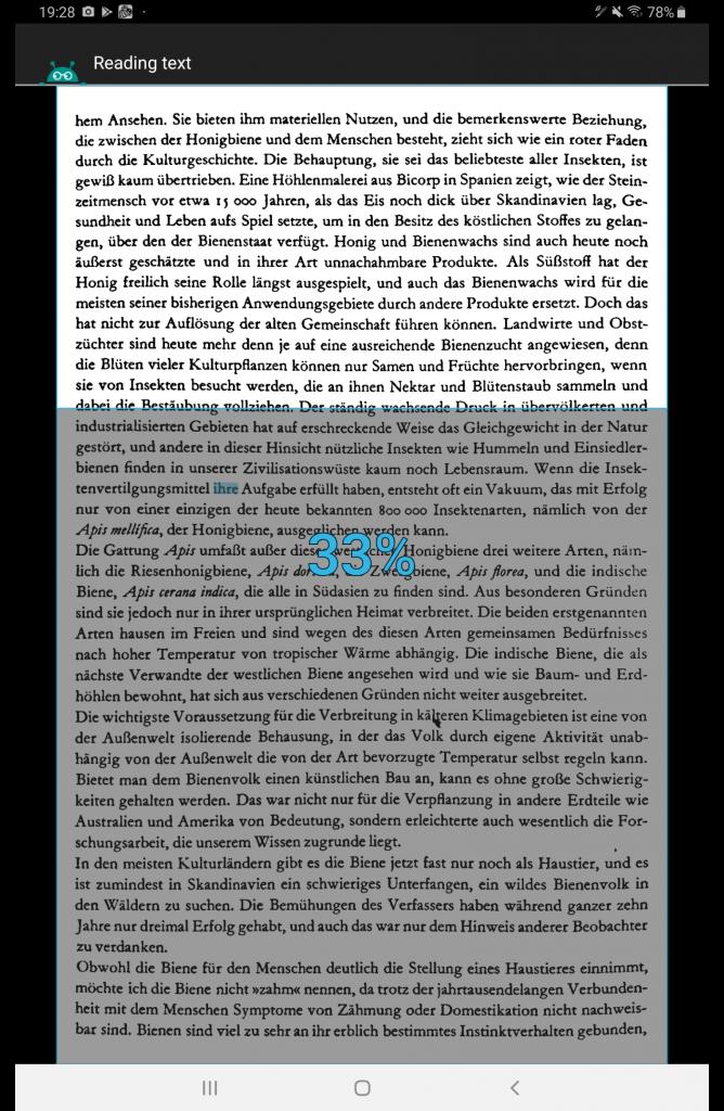 Textfee: Anzeige des gelesenen Textes