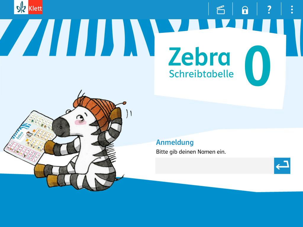 Starbildschirm der App Zebra Schreibtafel